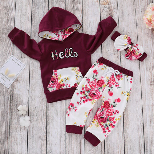 Baby Girls Children Long Sleeve Floral Print Hooded Pants 3PCS Outfits 1-6 Years