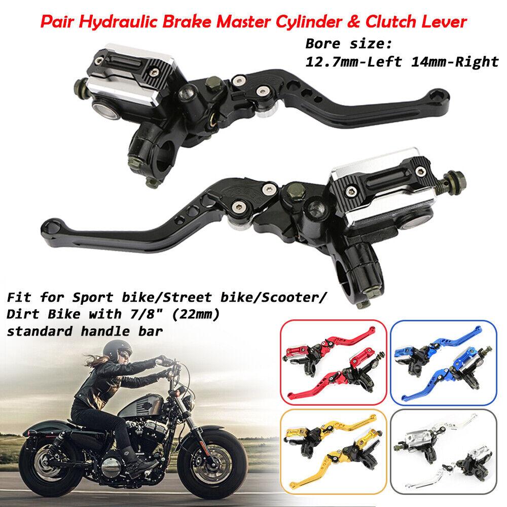 """Paar CNC Alu Motorrad 7//8/"""" 22mm Lenker Hydraulische Bremszylinder Kupplungshebel"""