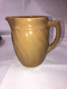 Monmouth Western Stoneware Pottery Tan Drippy Milk Pitcher Art Deco Design 6""