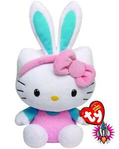 HELLO KITTY EASTER BUNNY EARS TURQUOISE BLUE TY BEANIE BABIES SOFT ... 6d882084fb2