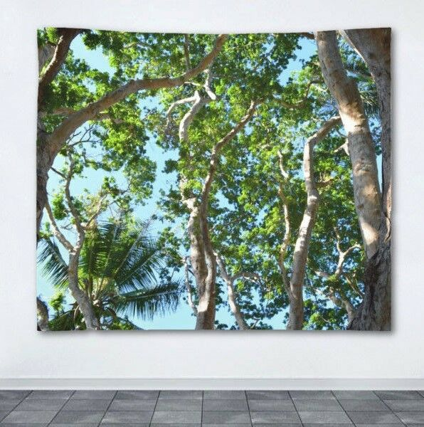 Wand Tapestry Wand Hanging Druckened USA Photo 45 Tropical Palm Trees Grün Blau