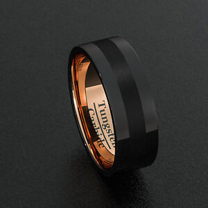 32736658ea2 Mens Wedding Band Tungsten Ring Two Tone 8mm Black Polished RoseGold ...
