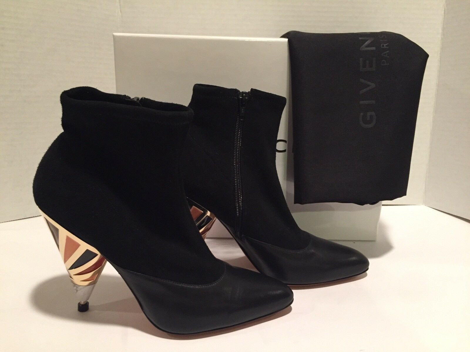 Givenchy Ankle Boots Leather Suede Soft Sock Black 38/ 7.5 1250