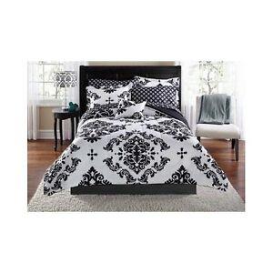 Image Is Loading Damask Bedding Set Comforter Modern Reverse Black White