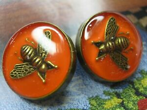 100-Gucci-2-buttons-RED-Bronze-COLOR-brass-BEE-18-mm-lot-2-ADORABLE
