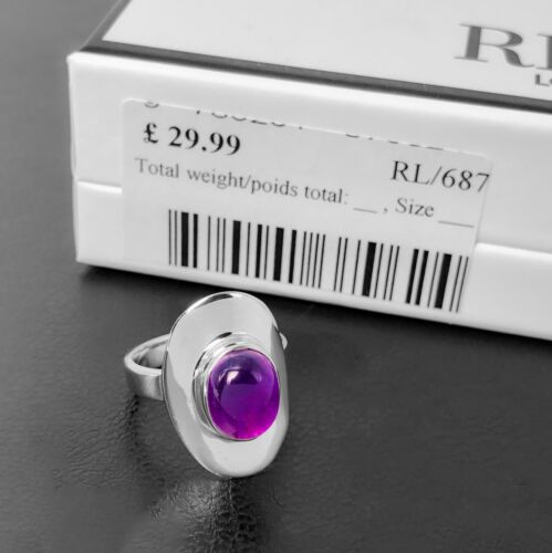 Stunning AMETHYST Oval Stone 925 Sterling Silver Gemstone Ring Gift Boxed