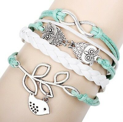 Fashion Handmade Infinity Antique Silver Friendship Charm Leather Bracelet Gift