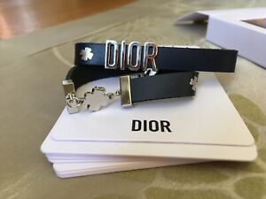 Christian-Dior-Navy-Leather-Clover-Bracelet-brand-new-in-box