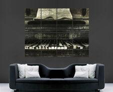 PIANOFORTE MUSICA NOTE POSTER Classico Retro Vintage Muro ARTE Immagine grande