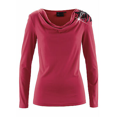 Stilvolles Shirt mit Pailletten in Dunkelrot - Gr. 36 / 38 - M721 - 970219