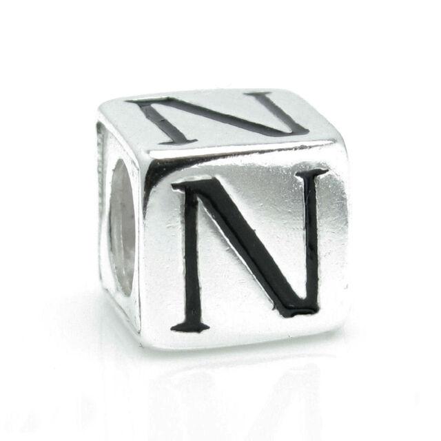STR Silver Letter Alphabet Initial Dice Cube Bead for European Charm Bracelet