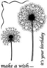 Make a Wish Birthday Dandelion Heads Flowers Clocks 5 craft stamp set A6