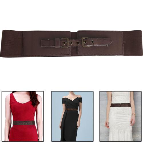 70mm Wide donna ragazza marrone elasticizzata stretch moda Doppia Fibbia Cintura in Vita