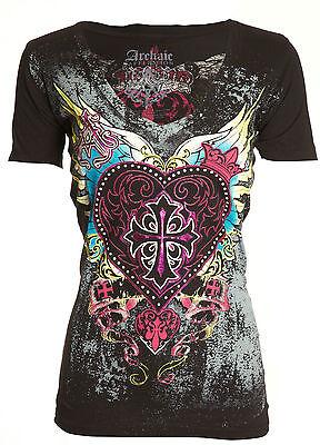 Archaic AFFLICTION Womens T-Shirt DARLING Heart Tattoo Biker Sinful S-XL $40 a