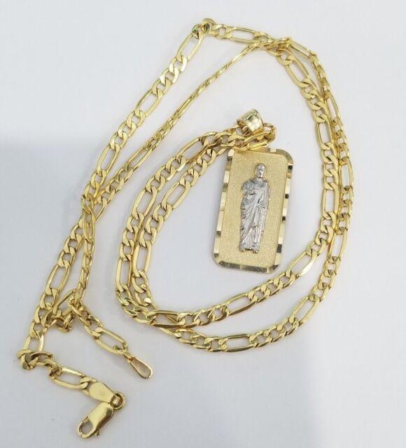 "Real 14k Yellow Gold St Jude Saint Juda Religious Pendant Charm 18"" Figaro Chain"