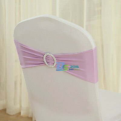 Elegant Wedding Party Banquet Chair Covers Decor Sashes W/ Silver Buckle Bow New