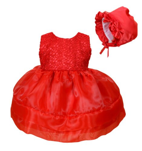 Baby Christmas Party Dress and Bonnet in Pink Red 0 3 6 12 18 24 Months