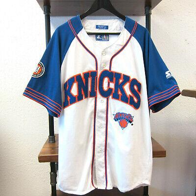 new style 40875 5cee6 90s Vtg New York Knicks Starter Baseball Jersey Shirt og ewing starks  snapback | eBay