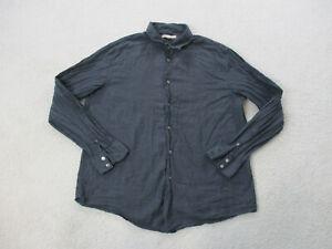 John Varvatos Button Up Shirt Adult Extra Large Black Gray Long Sleeve Mens