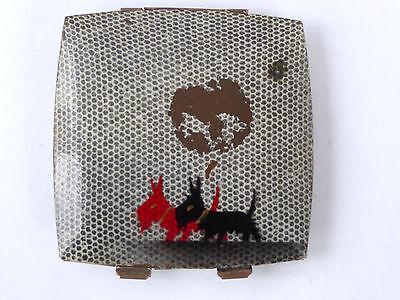 Scottie Dog Powder Compact Scottish Terrier Print Gray Mirrored Austria 1950 Vtg