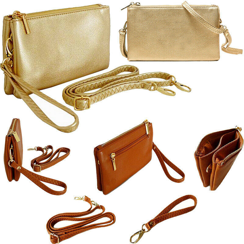 Small Gold Clutch Bag Cross Body Multi Pocket Handbag Shoulder Wallet Coin Purse
