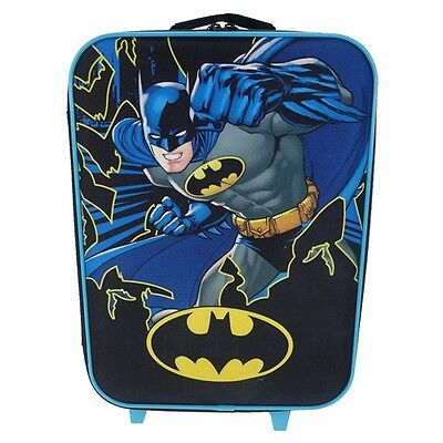 Official Childrens Batman Cartoon Style Wheeled Trolley Bag - Suitcase DC Comics