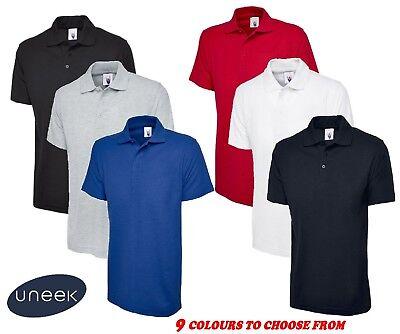 5 x Uneek Polo Shirt Work Wear Top Quality Blue Black Grey White Sports Plain