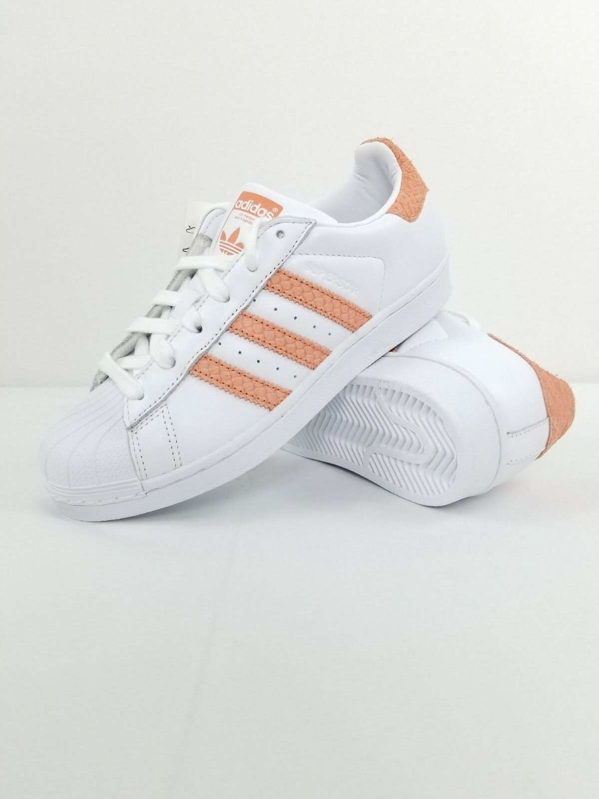 New Adidas Superstar Women's White Chalk Coral CG5462 Size 5.5 5.5 5.5 MSRP  80 f72c89