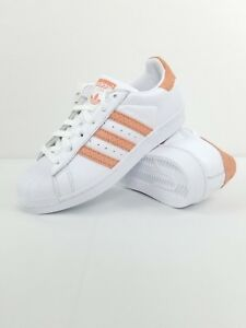 6925fa7671 New Adidas Superstar Women s White Chalk Coral CG5462 Size 5.5 MSRP ...