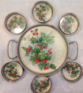 Antique-Christmas-Tray-with-Coasters