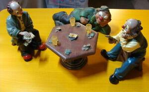 Gilde-Comedy-Grosse-Gilde-Clowns-Kartenspieler-mit-Tisch-Skatrunde-RAR