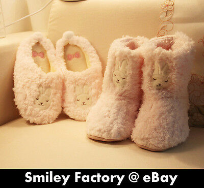 Cute Plush Pink Bunny Flip Flops free size cartoon slipper boots Christmas Gift