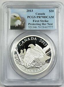 2013 Canada $20 Silver Bald Eagle Proof PCGS PR70 First Strike Returning Fr Hunt