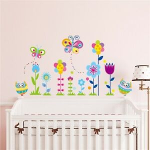 Details About Gall Stickers Flower Owl Erfly Vinyl Art Kids Baby Room Nursery Decor Go9