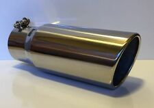 """4"""" INLET x 5' OUTLET x 12""""L ROLLED ANGLE POLISHED STAINLESS DIESEL EXHAUST TIP"""