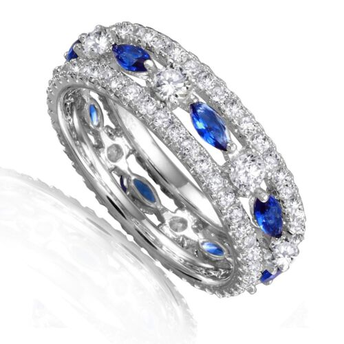Saphir Bleu Marquise Clear Round simulé diamants Sterling Silver Band Ring