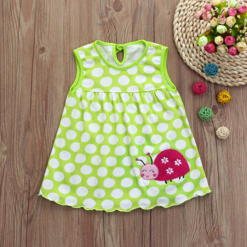 Toddler Baby Girl Sleeveless Tees Dress Cotton Cartoon Summer Print T-Shirt GK