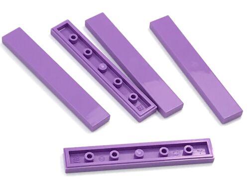Lego 5 New Medium Lavender Tiles 1 x 6 Flat Smooth Pieces