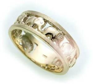 Damen-Ring-Elefant-echt-Gold-585-teilmatt-Gelbgold-14kt-Unisex-Qualitaet