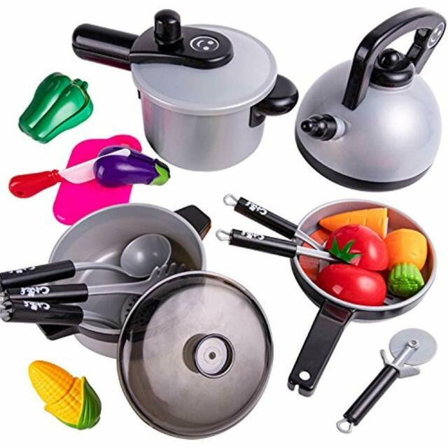 Kitchen Playsets IPlay, ILearn Kids Pretend Toys, Cooking Set, Pots Pans, Knife,