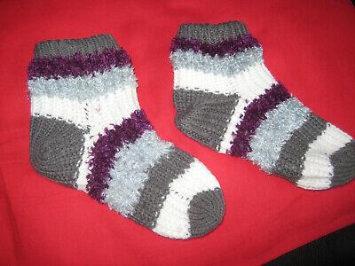 100% Wahr Socken Gr. 38/39 Grau/beige/lila Gestreift Top Wassermelonen