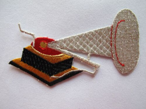 #2457 Golden,Silver Gramophone Embroidery Iron On Applique Patch