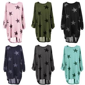 Damen Casual Langarm Sterne Beruckt Lose Lange T Shirt Tops Kleid Bluse Sommer Ebay