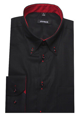 HUBER Hemd rot weinrot 100% Leinen nachhaltig HU 0065 Regular