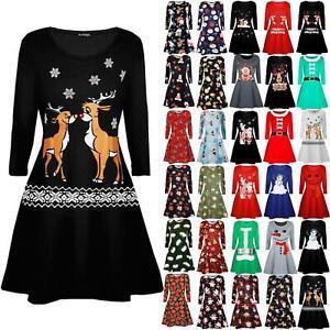 Girls Kids Xmas Christmas Kissing Reindeer Snowflakes Aztec Print Swing Dress
