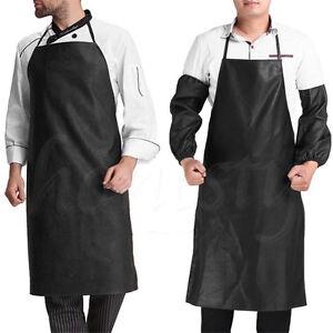Men Faux Leather Bib Apron Waterproof Kitchen Restaurant Cooking Aprons Cuff