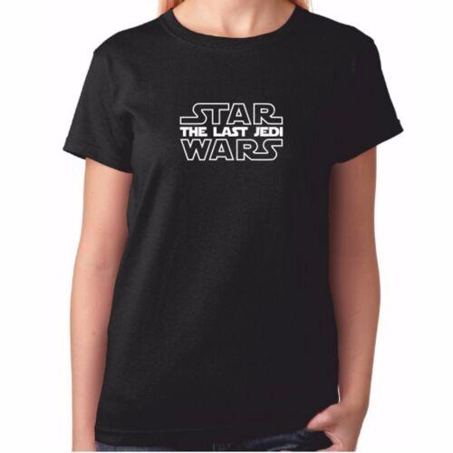 Femme La Dernière Jedi T-Shirt-Noir Star Wars écrit Logo T Shirt-STARWARS