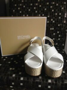 70a611ff5f7 Details about Michael Kors Women Optic White Leather Jodi Mid Wedge Size  9.5 New with Box