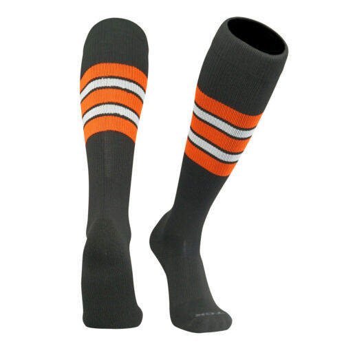 F TCK Elite Baseball Football Knee High Striped Socks Black White Orange