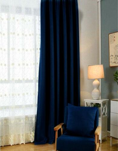 Pinch Pleat Linen Window Curtains Classic Navy blue Room DARKENING Drape 4 sizes